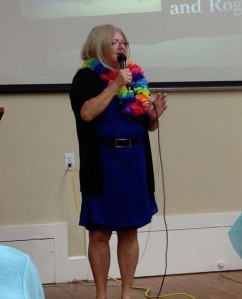 Karen Duncan speaking at her retirement party