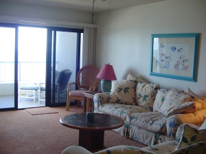 Living room at beach condo